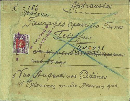 Tytuvenai provisional two-liner cancel 1919