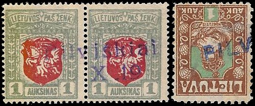 Pilviskiai 1919 two-liner lower-case Pilviškiai and date