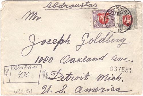 Pilviskiai 1921 registered cover No 430