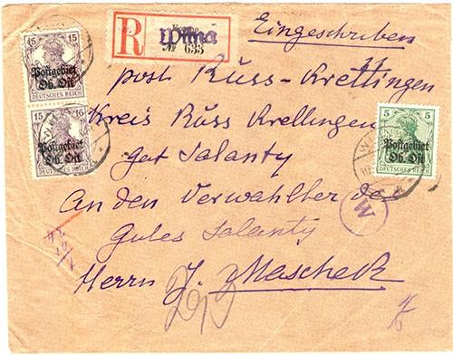 Wilna-1918-Russ-Krottingen-reg-663-Wilna-cachet-sm