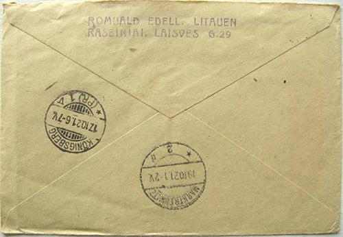 Raseiniai 1921 backside of the above cover