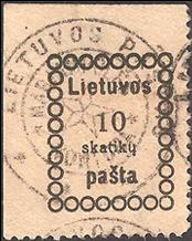 "Marijampole 1919 cancelling by ""KONTORA"" with a star"