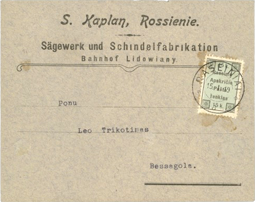 Raseiniai 1919 - Local Issue 15 k on mail - Forgery