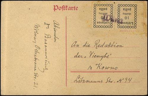 LT-1918 Vilnius cover written by Basanavičius