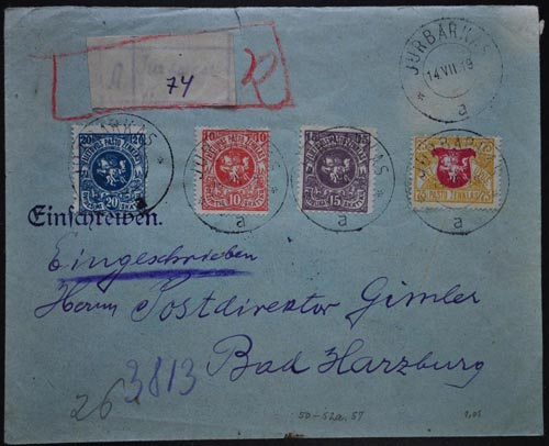 LT-1919 Jurbarkas cover with manuscript registration label