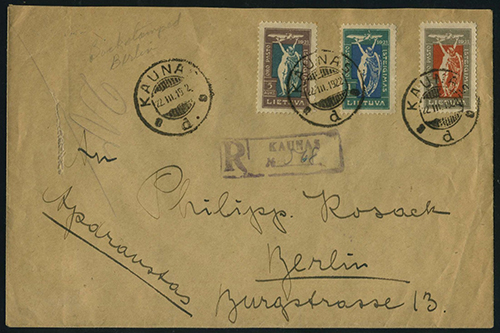 Lithuania 1922 Kaunas Berlin registered Second Air Post issue
