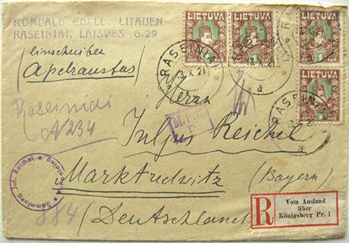 Raseiniai 1921 registration in manuscript
