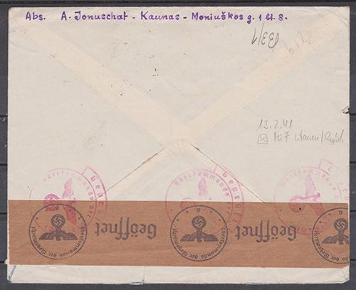LT-1941-Kaunas-Memel-mixed-franking-rev-sm