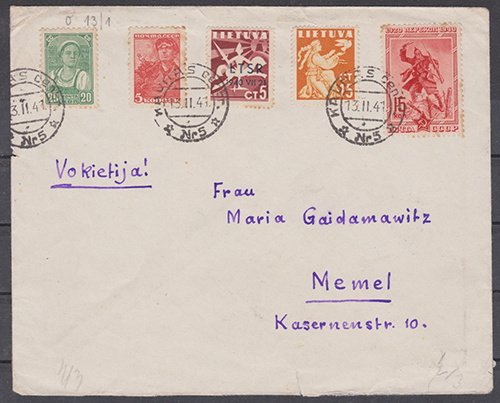LT-1941 Kaunas Memel mixed franking