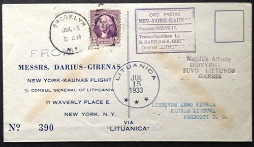 Lithuania 1933 transatlantic flight cover