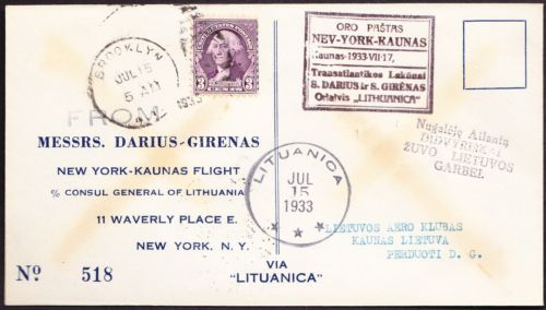 Lithuania 1933 transatlantic flight cover