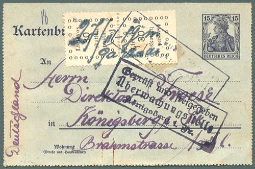 Lithuania 1919 Gargzdai - Konigsberg