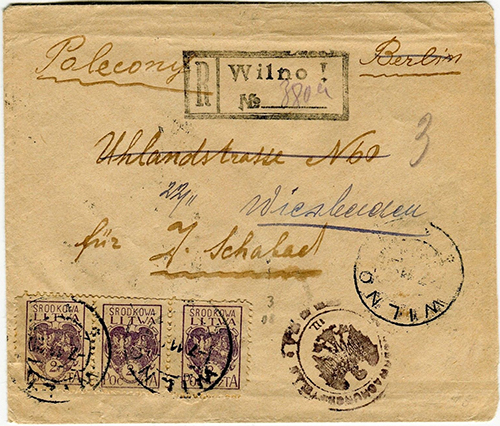 Central Lithuania 1920 Wilno Berlin forwarded