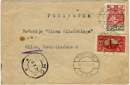 Central Lithuania 1921 Postawy Wilno
