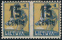 LT-1922 Mi 169 horizontal pair imperforate between