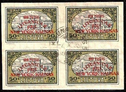 Lithuania 1935 New York Kaunas Overprint x4