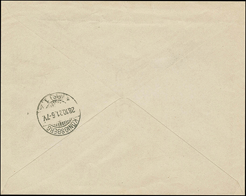 Tytavenai 1921 reg cover to Iglau