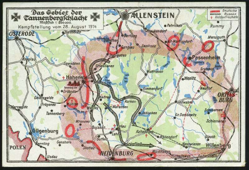 WWI Map of Tannenberg