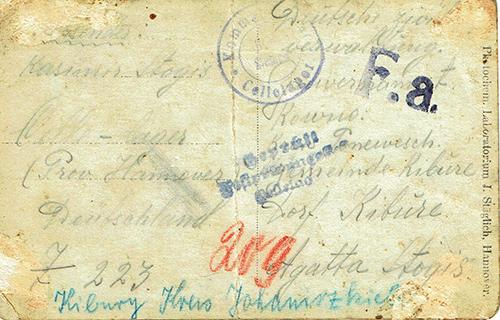 WWI prisoner mail cachet-Fa