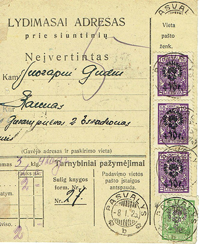 War orphans issue stamps on a money-order Pasvalys