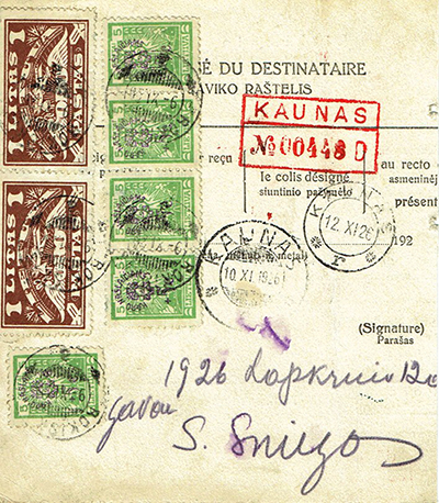 War orphans issue stamps on a money-order Rokiskis