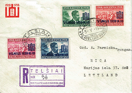 LT-1940 Telsiai philatelic exhibition FDC to Latvia