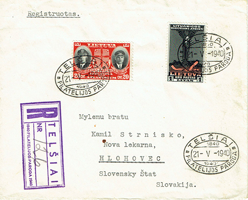 LT-1940 Telsiai philatelic exhibition FDC to Slovakia