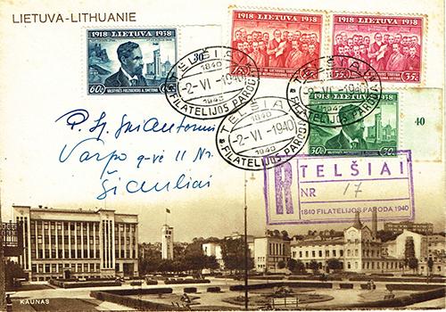 LT-1940 Telsiai philatelic exhibition cover to Siauliai