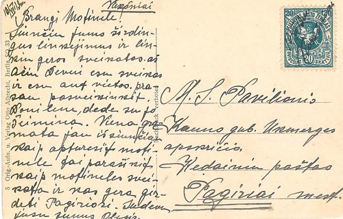 Vieksniai 1919 manuscript cancel