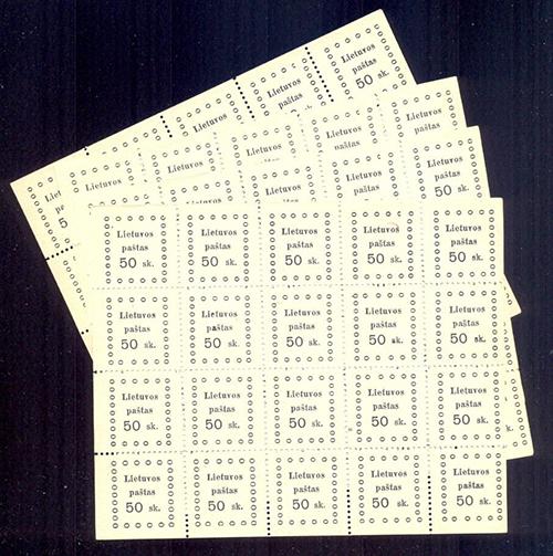 LT-1919 Kaunas II issue Mi 18 mint sheets