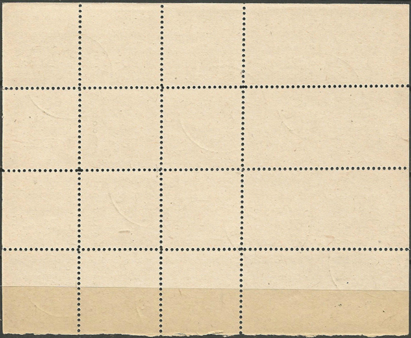 LT-1919 sheet partially imperf Mi 18