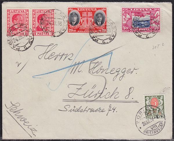 LT-1936 Pagegiai Zurich postage due