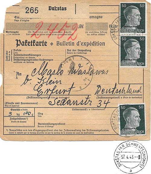 Dukstas Zar German postmark