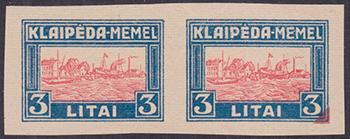 LT-1923 Klaipeda Harbor issue essay blue-red 3L